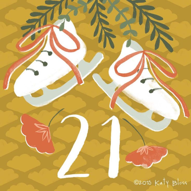 Watercolour illustration of ice skates and poinsettia on day 21 of an illustrated advent calendar by Katy Bloss.