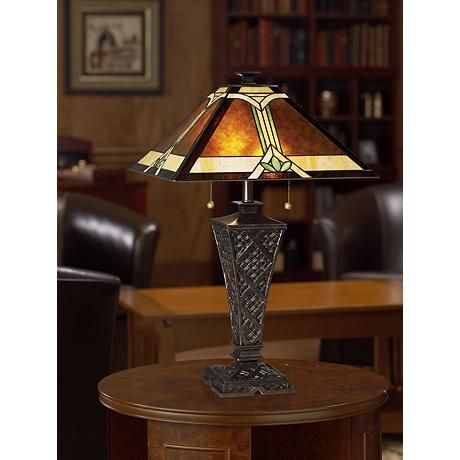 Mission faux wicker tiffany style table lamp