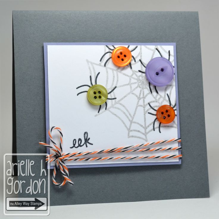 """Cute """"EEK AGAIN"""" Halloween Card...with """"button"""" spiders!  Snappy Stampin' w/Arielle."""