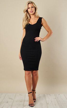 3996704ec61 Black Sweetheart Neckline Midi Dress