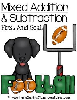 FREE! Mixed Addition and Subtraction Center Game First Down and Goal for the Doggie Bowl! This #FREE Center Games has... *Four center game pages in color *Student directions in matching theme *File folder cover *Teacher directions #TPT #Freebie