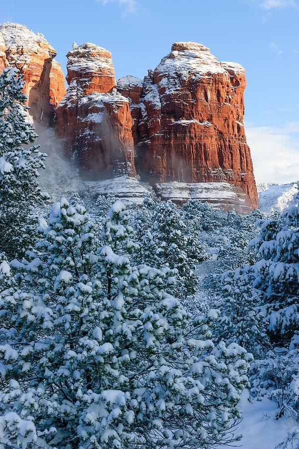Snow covered Coffee Pot Rock Sedona