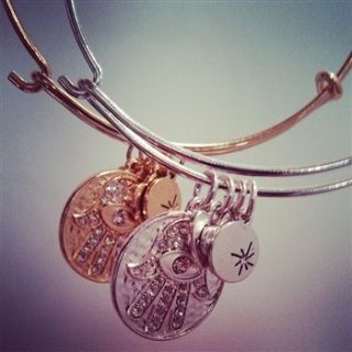 $15 Bangle Bracelets - Hamsa & Evil Eye - Silver or Gold <3 Resemble Alex & Annie - Order now and still get in time for Christmas.
