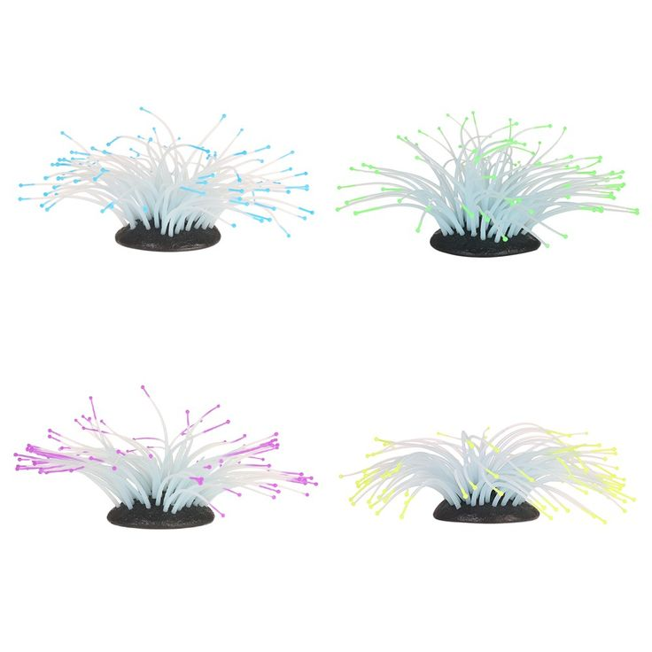 Artificial Silicone Sea Anemone with Glowing Effect for Fish blue - Tomtop.com