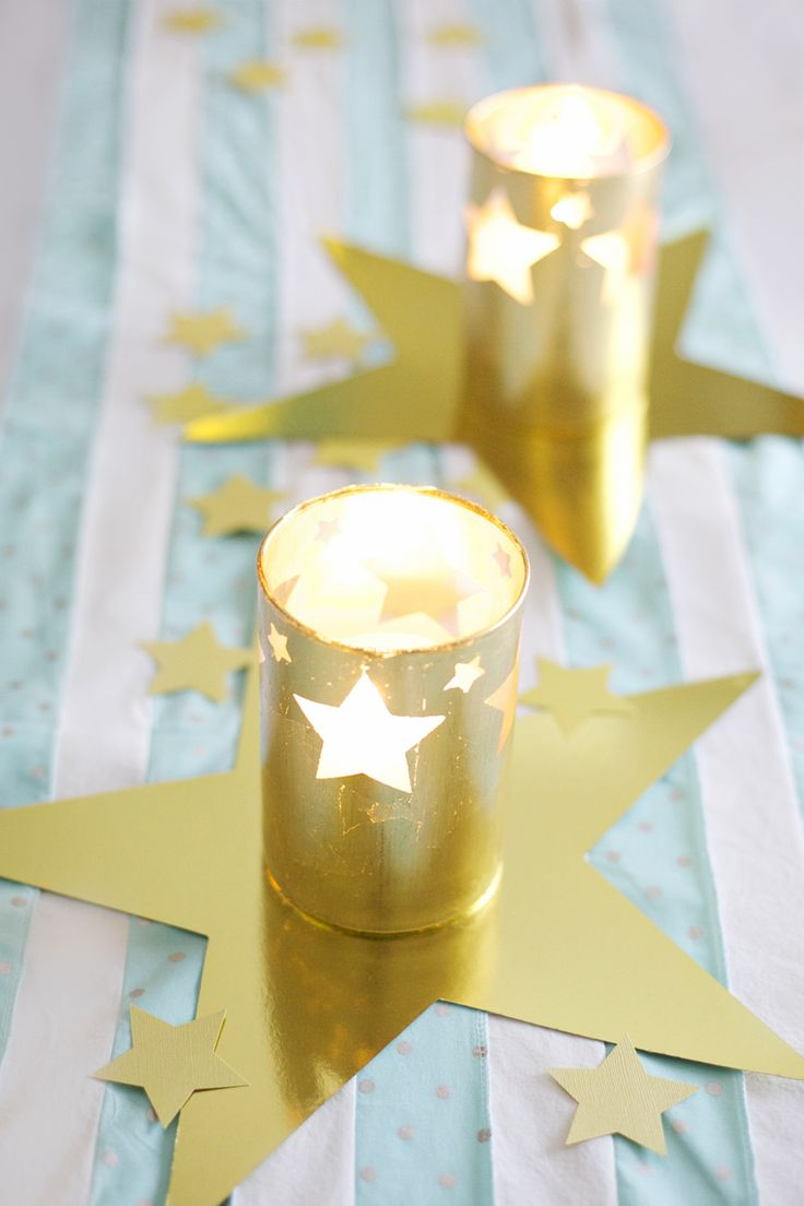 DIY gold leaf hurricane candle holders                                                                                                                                                      More