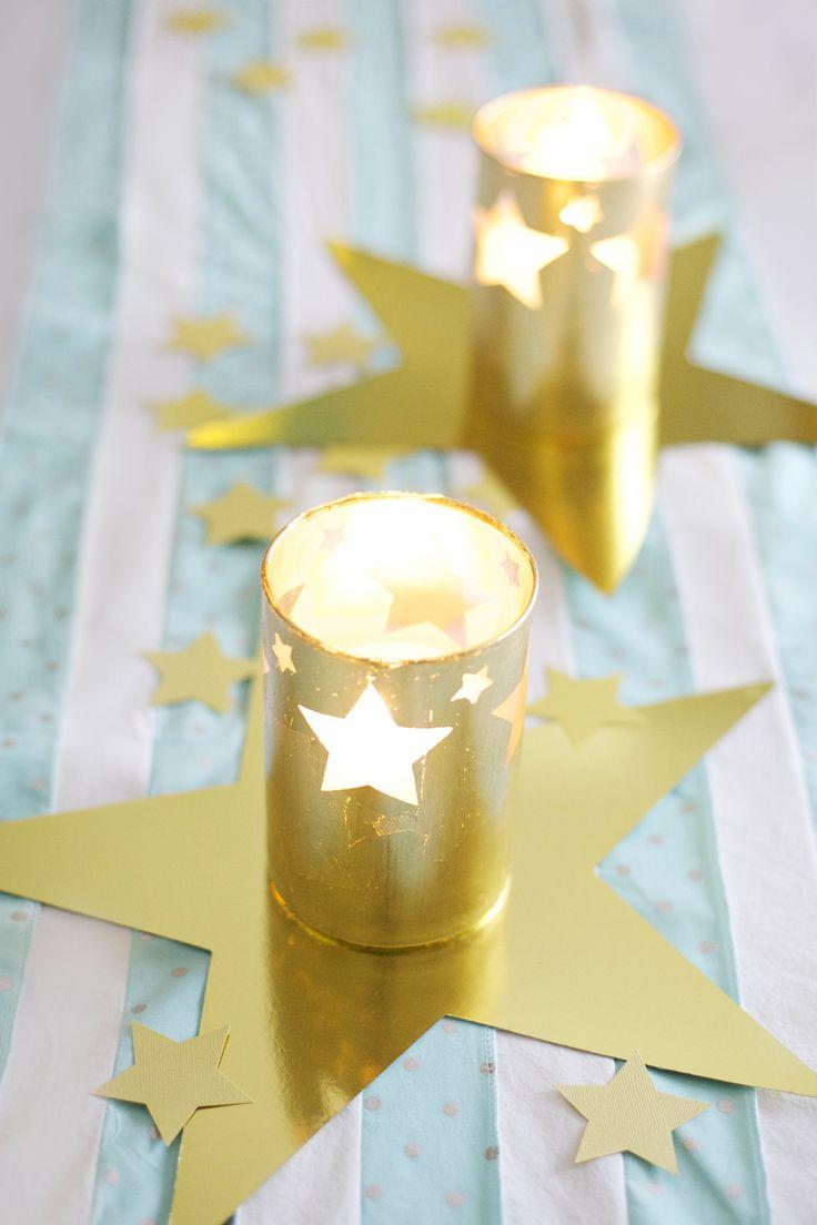 DIY gold leaf hurricane candle holders