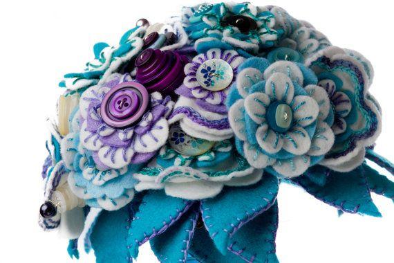 Wedding Felt Button Bouquet / Wedding Flowers / Bridal Bouquet / Bridesmaid Bouquet / Flower Girl Bouquet / Floral Gift