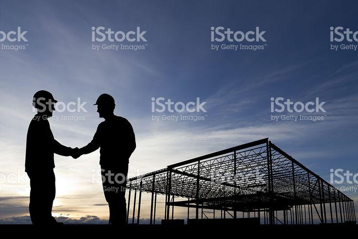 建設現場握手 ロイヤリティフリーストックフォト
