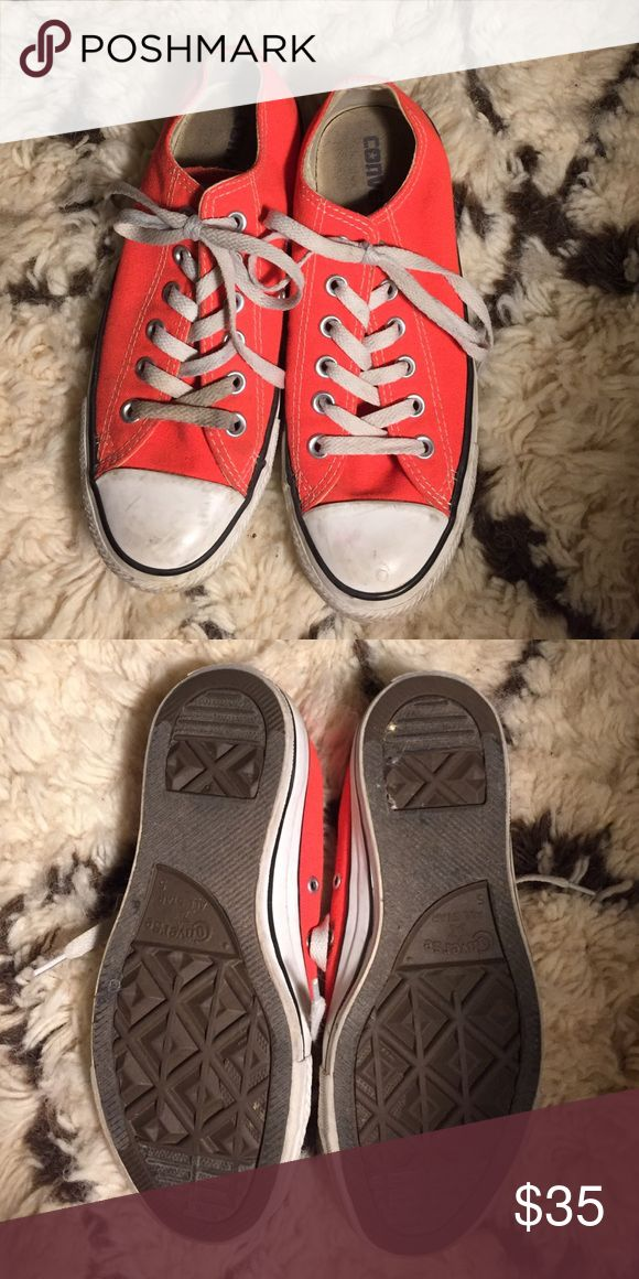 Bright orange neon Converse. Worn twice! Bought at Nordstrom's Converse Shoes Sneakers