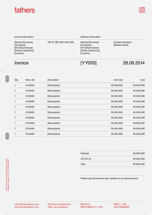 stationery invoice format