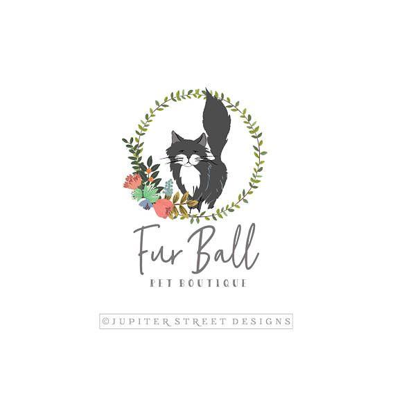 Cat Logo-Pet Logo-Boutique Logo-Animal Logo-Wreath Logo-Flower