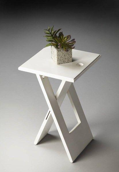 Butler Loft Hammond Transitional White Acacia Wood Folding Table