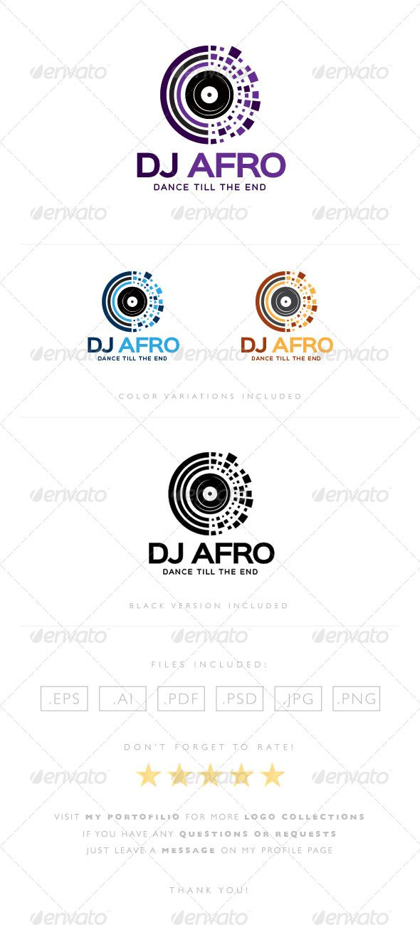DJ Afro Logo  #music #night club #party • Click here to download ! http://graphicriver.net/item/dj-afro-logo/8464500?s_rank=308&ref=pxcr
