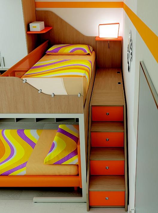 """#Arredamento #Cameretta Moretti Compact: Collezione 2012 """"Team"""" > Kids – Soluzione a #Soppalco >> ks11 #letti #scala con #cassetti http://www.moretticompact.it/kids.htm"""