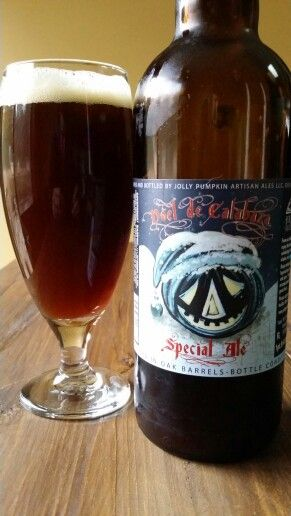 Jolly Pumpkin Artisan Ale's Noel De Calabaza. A wonderful Christmas ale aged in oak barrels.