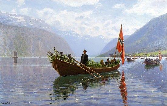Kunstvariasjoner : Hans Dahl (1849-1937): Roende kirkefølge om våren fra Balestrand
