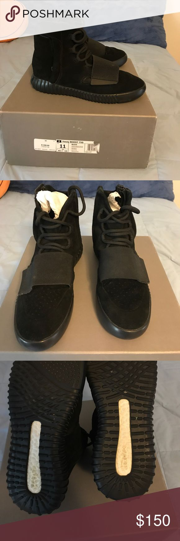 UA Yeezy Boost 750 Triple Black This is an unauthentic/fake pair of Yeezy boost 750 in the triple black colorway. I am selling to recover from the loss I took when I was scammed on these. Fortunately for anyone whos interested, this is a great way to dress nice with an affordable price. These are 9/10 condition with the only flaws being dirty bottoms. They are cleanable however. Enjoy. Feel free to ask questions. Yeezy Shoes Sneakers