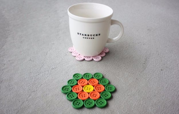 DIY Projects and Crafts Made With Buttons - DIY Button Coasters - Easy and Quick Projects You Can Make With Buttons - Cool and Creative Crafts, Sewing Ideas and Homemade Gifts for Women, Teens, Kids and Friends - Home Decor, Fashion and Cheap, Inexpensive Fun Things to Make on A Budget http://diyjoy.com/diy-projects-buttons
