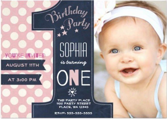 Editable 1st Birthday Invitation Card Free Download Elegant 36 First Birthday 1st Birthday Invitations 1st Birthday Invitations Girl Birthday Invitations Girl
