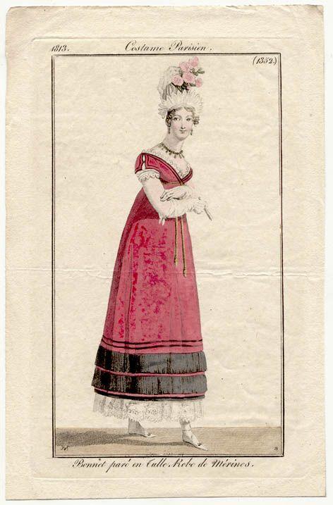 Bright pink gown 1813 Costume parisien