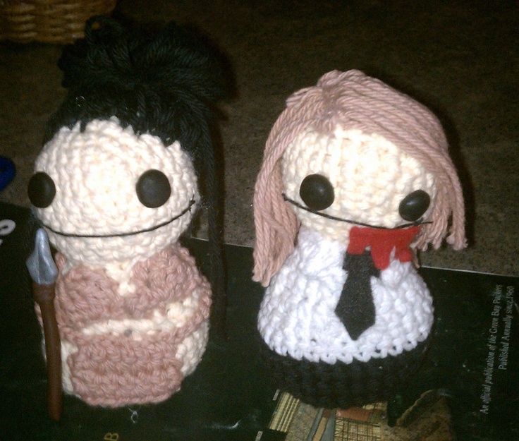 A little amazon warrior and her corporate zombie friend :). They're both from the book Creepy Cute Crochet by Christen Haden.