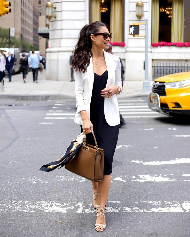 With Love From Kat // Dear New York. Navy slip dress+nude lace-up heeled sandals+white blazer+camel handbag+printed scarf+sunglasses. Late Summer Business Outfit 2016