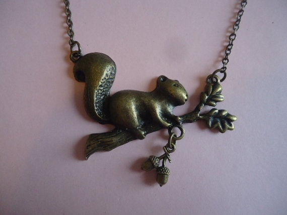 Squirrel and Acorn Necklace by TallulahStack on Etsy, $10.00