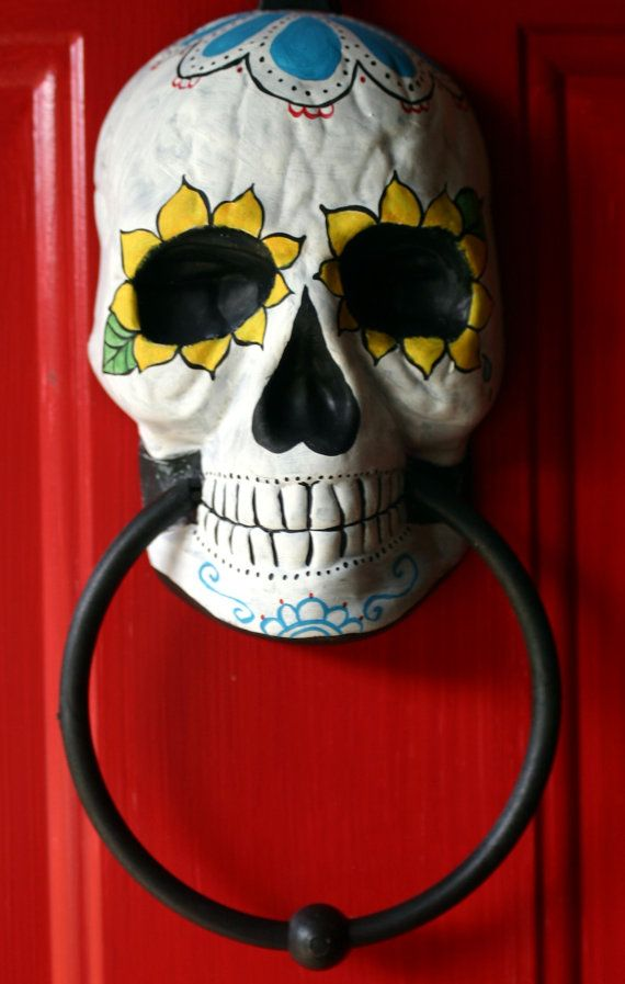 Day of the Dead doorknocker hand painted by dalaimomma on Etsy