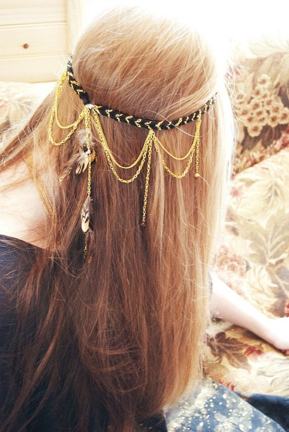 hippie, bohemian, festival, gypsy, feathers: Stealing Sun Rays Festival Hippie headand. By Echoing waters via Etsy.