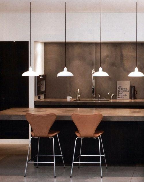 .: Polish Concrete, Scandinavian Kitchens, Kitchens Design, Breakfast Bar, Bar Stools, Pendants Lights, Masculine Kitchens, Kitchen Designs, Concrete Countertops