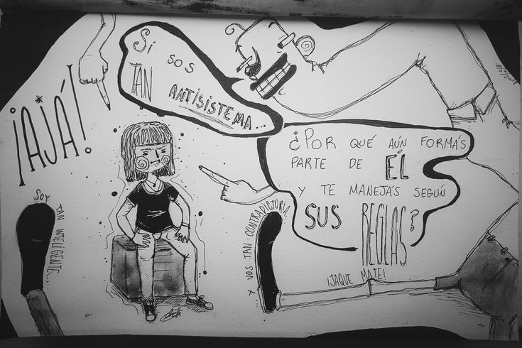 """AHA!"" (¡Ajá!)  ""If you are so ANTISYSTEM... Why are you still part of IT and act according to ITS RULES?"" (Speech balloon).  ""I'm so smart... And you're so contradictory... Checkmate!"" (Small text next to the feet).  —chiara.gch— #sketchbook #drawing #draw #blackandwhite #oc #character #characterdesign #ink #inkart #illustration #illustrations #dibujo #ilustracion #inkdrawing #blancoynegro #system #antisystem"