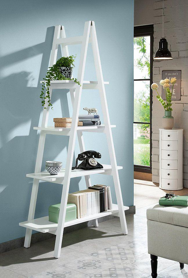 Trendig und außergewöhnlich ist das moderne Regal »Delia« von Home affaire. Das Standregal in Leiteroptik lässt sich vielseitig einsetzen: Auf den Ablageflächen können Bücher, Dekorationsgegenstände, persönliche Erinnerungsbilder und weitere Utensilien untergebracht werden. Ideal passt es ins Wohnzimmer oder in die Leseecke.