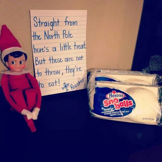 How sweet, Elf on the Shelf brought Hostess Snoballs for us to eat.