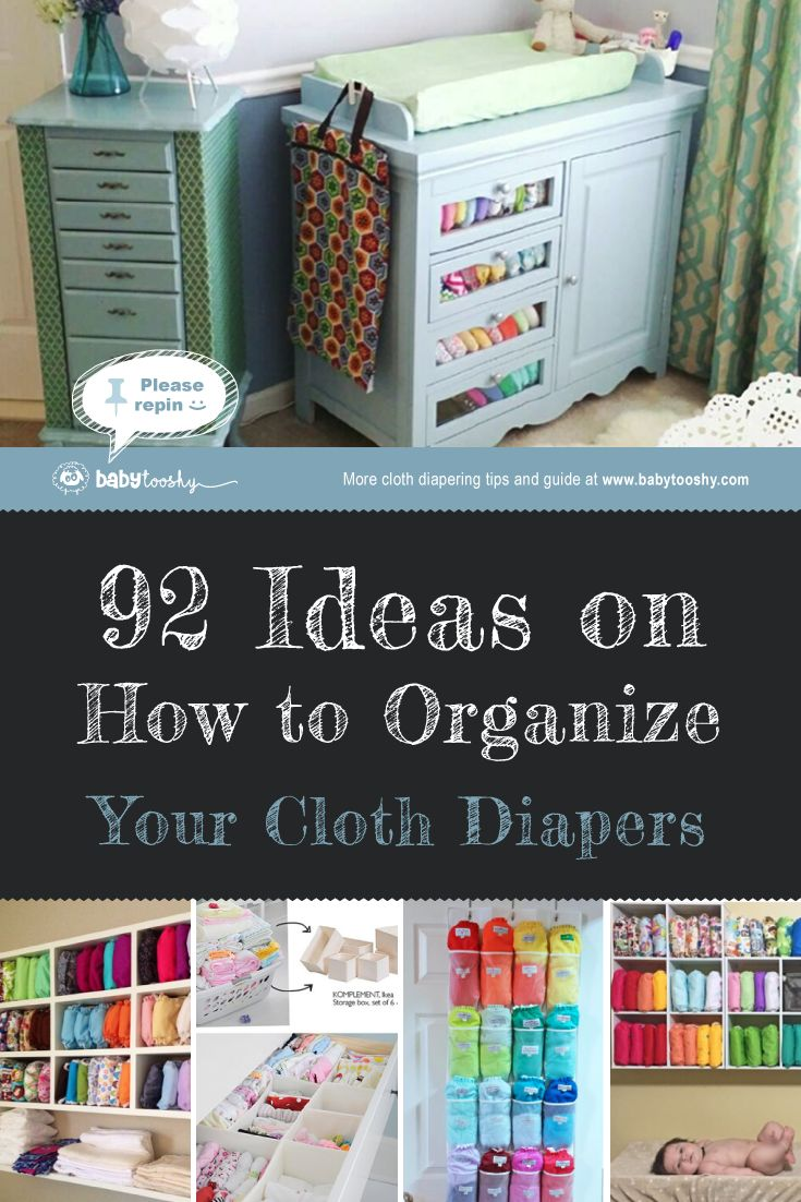 Cloth Diaper Storage - 92 great ideas on how you can organize your cloth diapers. http://babytooshy.com/92-nursery-storage-ideas-for-cloth-diapers/