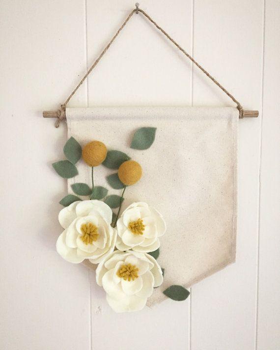 Large Magnolia, Eucalyptus, and Billy Ball Felt Flower Canvas Banner