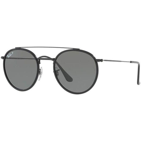 Ray-Ban 51 Black Round Sunglasses - rb3647n (1198385 PYG) ❤ liked on Polyvore featuring accessories, eyewear, sunglasses, glasses, ray ban glasses, flat lens sunglasses, round frame sunglasses, round sunglasses and ray ban eyewear