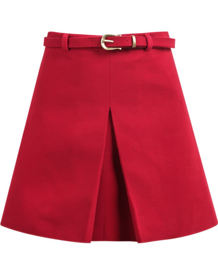 Red Pleated A Line Woolen Skirt 20.83