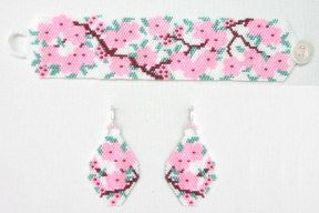 Cherry Blossom Bracelet & Earrings Beading Pattern from Bead Art by Ronit at Bead-Patterns.com