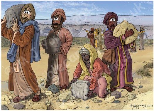 Joshua 04 - Jordan crossing - Scene 06 - 12 stones lifted