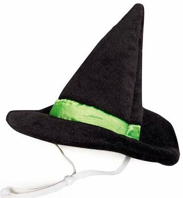 The Aria Witch Hat is a simple way to create a festive look for your #dog this Halloween season. This unique accessory features the standard simple design that resembles a classic witch's hat with a bright green band wrapped around it to give it a unique look.