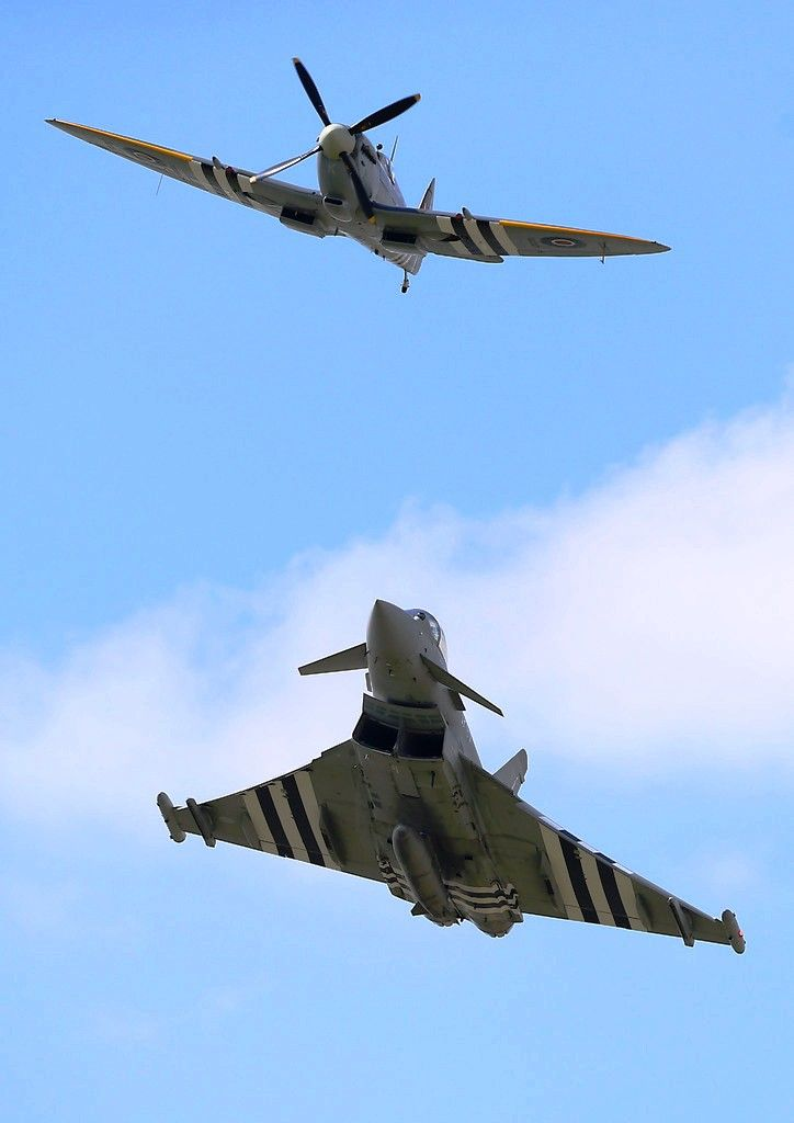 the old and the new.. An RAF Eurofighter Typhoon and RAF Spitfire