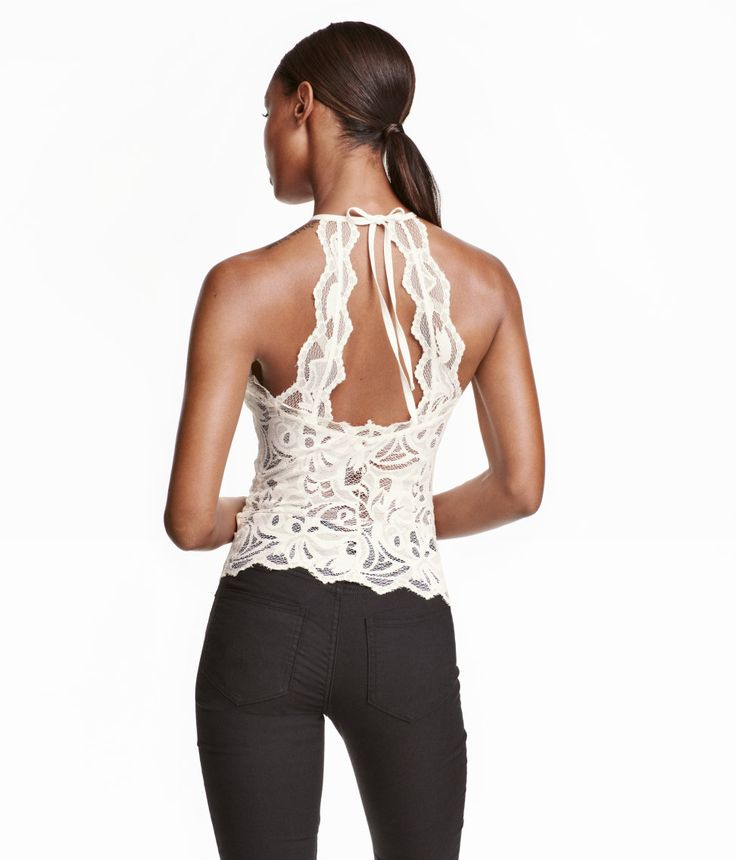 Sleeveless lace top | Party in H&M