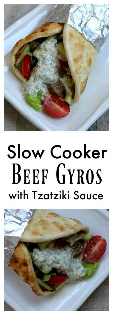 Slow Cooker (Crock Pot) Beef Gyros with Tzatziki Sauce