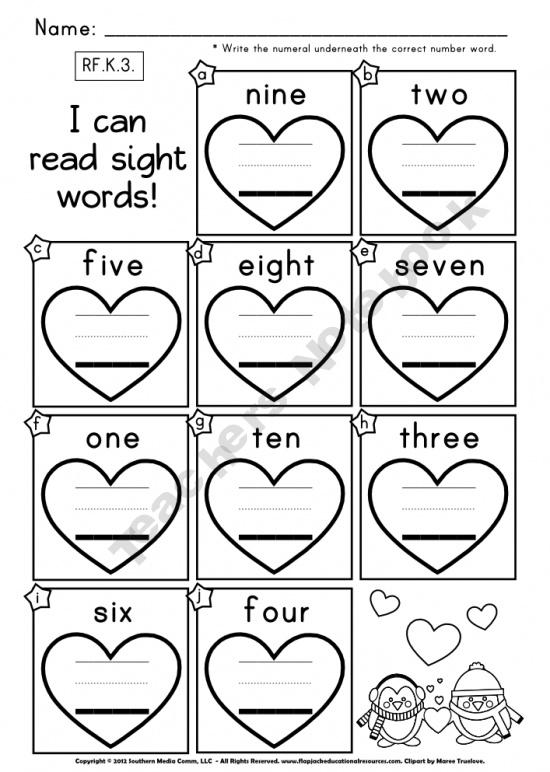 FREE Heart Number Words Worksheet | Kindergarten Math ...