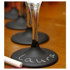 """Chalk Board Wine Glasses - mine would say """"Hands off, Buddy."""""""