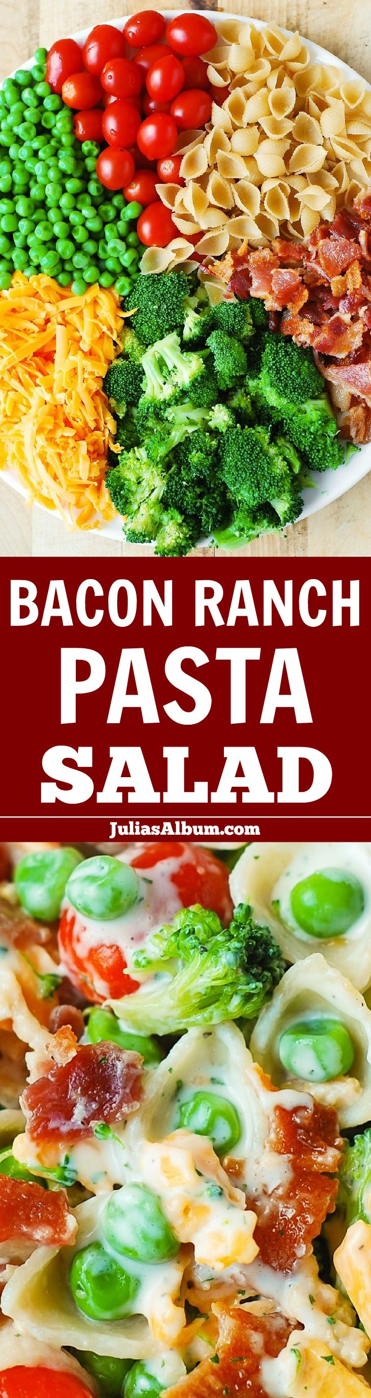 Bacon Ranch Pasta Salad - LOADED with veggies (broccoli, cherry tomatoes, sweet peas), sharp Cheddar cheese, pasta shells, and bacon!