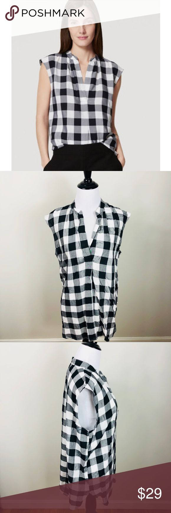 LOFT Split Neck Sleeveless Gingham Shell Tunic M