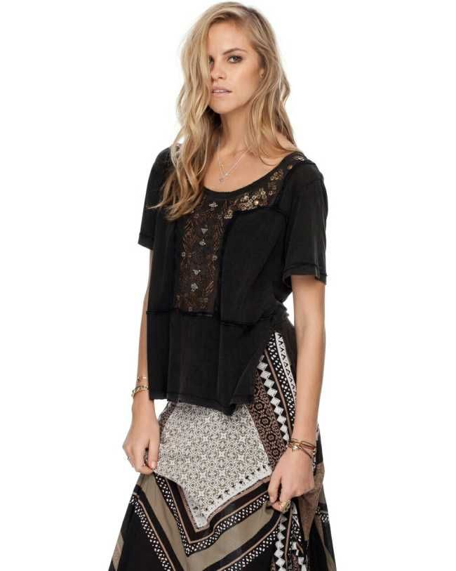 Black Embellished Top, The Free People Embellished Rocker Tee has an eclectic vibe with intricate beading and a worn, faded finish.  $130.00