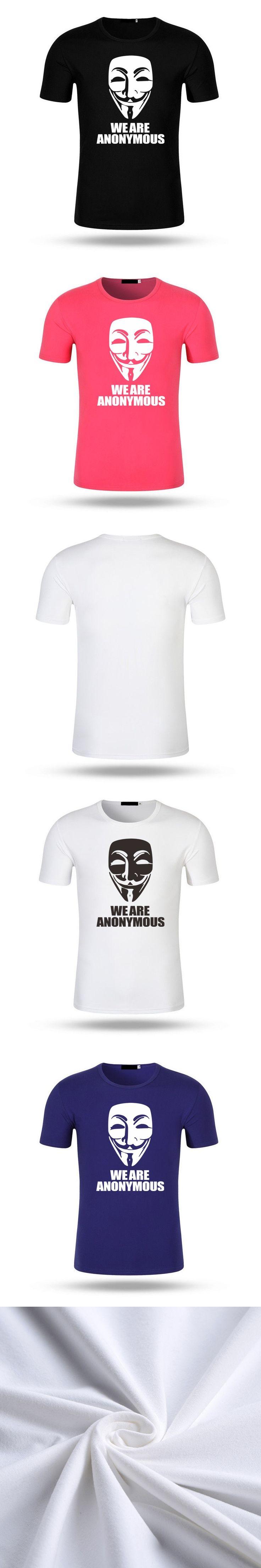Men Fashion V for Vendetta T-Shirt Anonymous Guy Fawkes Mask Men Modal Cotton T Shirt Short Sleeve Tops Tees Tshirt