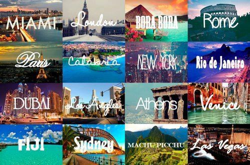 Selection of places I want to travel too, mainly Venice, Rio and Bora Bora #MFC4012